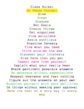 Positive Rules Poster