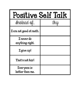 Positive Self Talk Poster and Notebook Activity (Adapted from Open Circle)