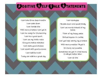 Classroom Management: Positive Self Talk Statements