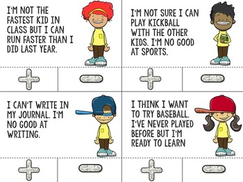Positive Self Talk and Growth Mindset Clip Cards