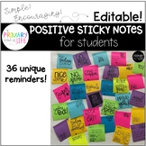 EDITABLE Positive Sticky Notes for Students
