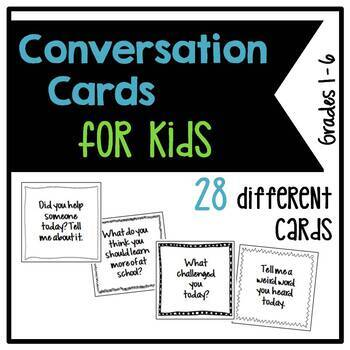 Positive Student Conversation Cards – Grades 1-6 – 28 Different Cards
