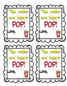 Positive Gift Tags | Popcorn theme | Valentine's Day, Testing,etc