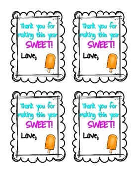 Gift Tags| Popsicle Theme| Valentine's, Testing, End of Year