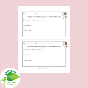 Positive Teacher Feedback and Observation Forms Cat Themed