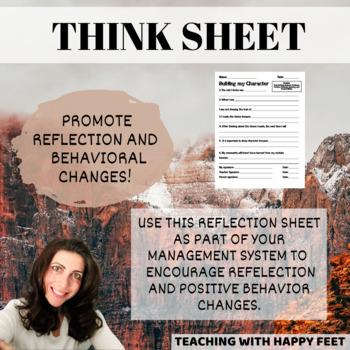 Positive Think Sheet for Reflecting on Behavior