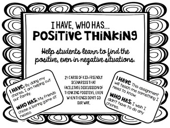 """Positive Thinking """"I have, who has?"""""""