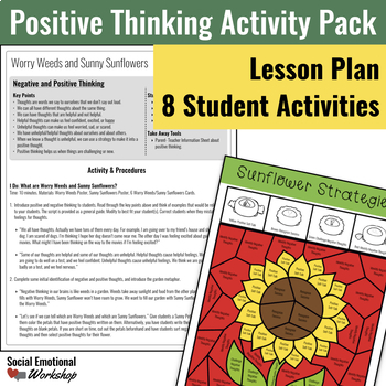 Positive Thinking Lesson, Game, and Activity Bundle
