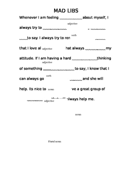 Positive Thinking Mad Libs