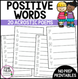 Positive Words Acrostic Poems - Social Emotional Learning Activity