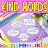 Positive Words Activity to increase kind words and self esteem