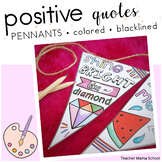 Positive and Growth Mindset Quotes Coloring Pennants