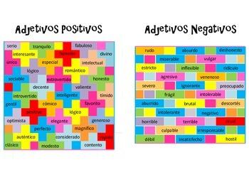 SPANISH Positive and Negative Adjectives by Mi Casita | TpT