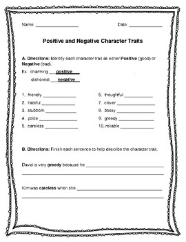 Traits character positive negative and 25 Good