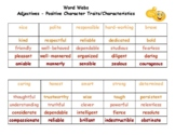 Positive and Negative Character Traits Shades of Meaning Word Webs