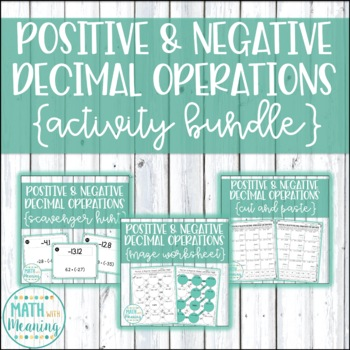 Positive and Negative Decimal Operations Activity Mini-Bundle