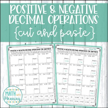 Adding And Subtracting Positive And Negative Decimals
