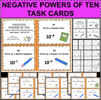 Negative Exponents Activity Teaching Resources Teachers Pay Teachers