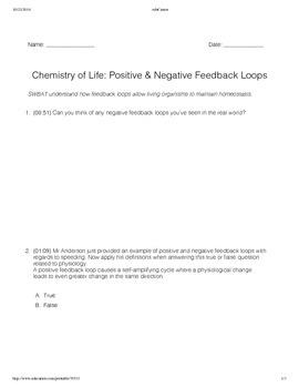Positive and Negative Feedback Loops Worksheet