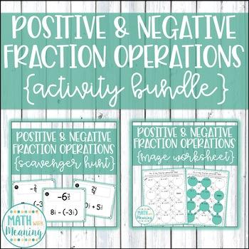 Positive and Negative Fraction Operations Activity Mini-Bundle