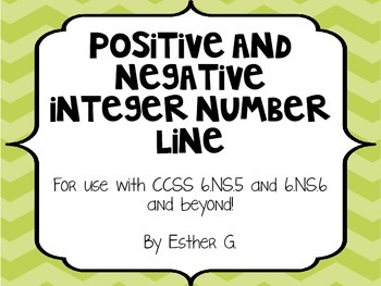 Positive and Negative Integer Number Line 6.NS.5 & 6.NS.6** Green