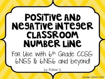 Positive and Negative Integer Number Line 6.NS.5 & 6.NS.6*
