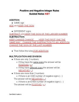 Positive and Negative Integer Rules Guided Notes