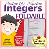Positive and Negative Integers - FOLDABLE for Interactive Notebooks, 2 Options