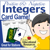 Positive and Negative Integers - Fun Card Game for Math Stations/Centers