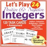 Positive and Negative Integers - Let's Play 24 CHALLENGE great for Math Centers