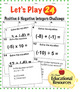 Positive and Negative Integers - Let's Play 24 CHALLENGE g