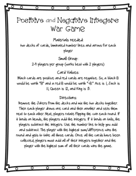 Positive and Negative Integers War Game