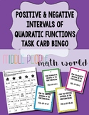 Positive and Negative Intervals of Quadratic Functions Task Card Bingo
