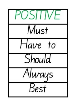 Positive and Negative Modality Word Wall