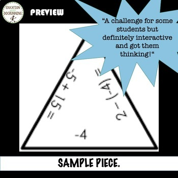 Positive and Negative Numbers Puzzle Activity for Practice and Review