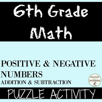 Positive and Negative Numbers Puzzle Activity for Practice