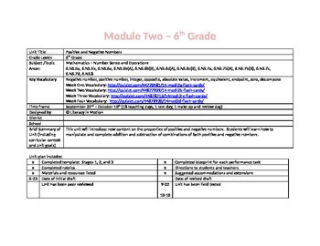 Positive and Negative Numbers - 6th Grade Math UbD Lesson Plans