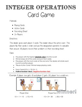 Positive and Negative Numbers Card Game