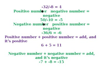 Positive and Negative Numbers Cheat Sheet