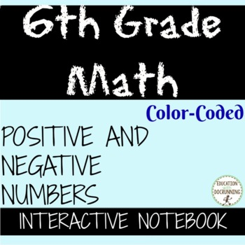 Positive and Negative Numbers Color and BW Interactive Notebooks