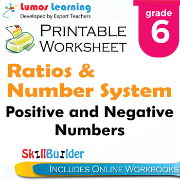 Positive and Negative Numbers Printable Worksheet, Grade 6