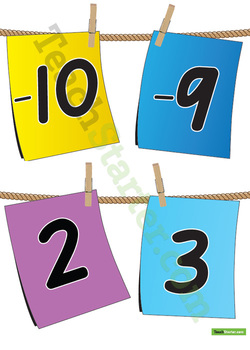 -10 to 10 - Positive and Negative Pegged Number Line
