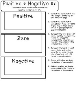 Positive and Negative #s to Represent Situations Interactive Notebook 6.NS.5