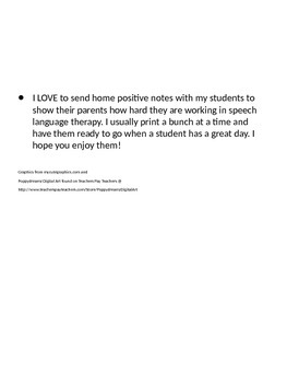Positive notes to send home with students