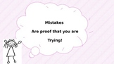 Positive quote poster -Mistakes are proof that you are trying