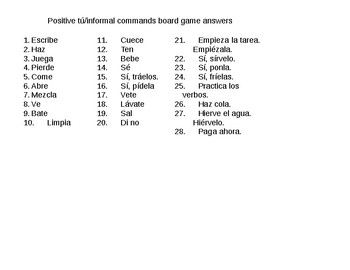 Positive tu/informal commands board game with answers - Santillana