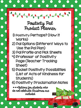 Holiday Positivity Pals Character Education Plan