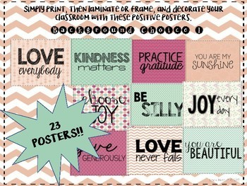 Positivity Posters- Inspiration for the Classroom- Background Choice 1