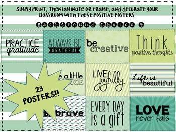 Positivity Posters- Inspiration for the Classroom- Background Choice 4