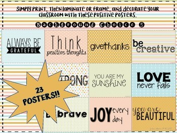 Positivity Posters- Inspiration for the Classroom- Background Choice 5